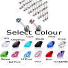 MULTI GEM LABRET MONROE BAR GEM HELIX TRAGUS BAR 16g BODY JEWELLERY