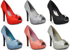 NEW LADIES WOMENS BRIDAL PEEPTOE PLATFORM PARTY PROM SATIN SHOES SIZ 3 4 5 6 7 8