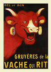 Red Cow Earrings Milk Gruyeres Vache Rit French Vintage Poster Repro FREE S/H