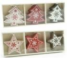 Set 12 Traditional Wooden Hanging Christmas Tree Decorations in box. Stars/Trees