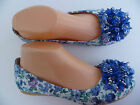 BLUE FLORAL WOMEN'S FLAT SHOES VIA PINKY SIZE : 5-10