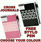 NEW AUTHENTIC CROSS MOD PINK BLACK FAUX LEATHER A5 JOURNAL WRITING PAD FREE PEN