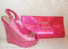 RRP £150 BNWB CARVELA KURT GEIGER SIZE 3 36 GIDDY PINK DIAMANTE HIGH WEDGE SHOES