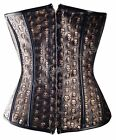 Corset Gothic Skulls Underbust Faux Leather Fashion Basque SteamPunk Fancy Dress