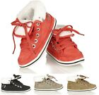 KIDS BABY'S INFANT GIRLS CHILDRENS FUR LINED FLAT HIGH TOP TRAINER LACEUP SHOES
