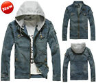 NEW Men's Punk Bomber Biker Slim Fit Trucker Hoodies Denim Jean Jacket Blazer