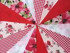 Handmade Fabric bunting 40ft ~ 40 Flags The Red Collection Birthdays~Home