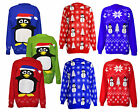 WOMENS CHRISTMAS NOVELTY KNITTED JUMPERS SANTA SNOWMAN XMAS SNOW FLAKES KNITWEAR