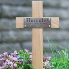 """12"""" Tall Wooden Pet Memorial Cross Engraved Plaque Grave Ashes Cremation Marker"""
