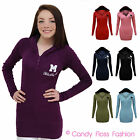 NEW LADIES MISS SEXY HOODED LONG SLEEVE T SHIRT HOODIE JUMPER TOP SIZES 8 - 14