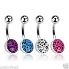 Surgical Steel Belly Bar / Navel Ring with Leopard Skin Epoxy Coated Ball