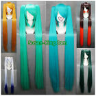 7 colors Hatsune miku Long Straight Cosplay wigs Party Full wig+clip on Ponytail