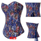 FASHION, Sexy Floral Brocade Victorian Steel Boned Corset Basque Burlesque S-2XL
