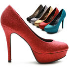 ollio Womens Shoes Platforms Glitter Stilettos High Heels Multi Colored