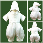 New White Short Rompers + Hat 4 Baby Boy & Toddler Christening Baptism 0M-30M