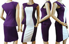 BNWT Color Block Illusion Galaxy Pencil Wiggle Dress Size 10-22(Purple-Cream)SII
