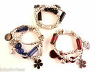 Heart Charm Bracelet with flower charms antique look silver tone