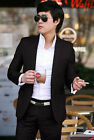 Trendy New Mens Slim Fit one Button Suits Dress Coat Blazer Pants Black S007