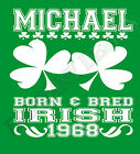 Irish Born & Bred T-Shirt Personalised Name And Year Of Birth Ireland Great Gift
