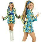 Adult Blue Retro Disco Girl 60s Costume Womens Fancy Dress 1970s Decade Outfit