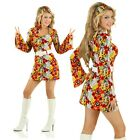 Adult 60s Retro Flower Power Costume Women Fancy Dress 1970s Decade Party Outfit