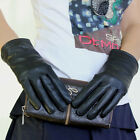 Womens Black Leather Winter Warm Dress Gloves Coral Fleece Lined  [JG]