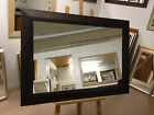 "NEW LARGE 4"" SHAPED THAKAT/WENGE STAINED SOLID OAK OVERMANTLE WALL MIRRORS"