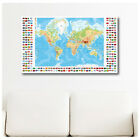LARGE Canvas Modern World Map with Flags wall art gallery print photos poster©