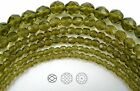 """Czech Fire Polished Round Faceted Glass Beads In Olivine Color, 16"""" Strand Green"""
