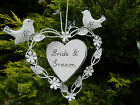 VINTAGE SHABBY CHIC STYLE WEDDING HANGING HEARTS MR & MRS OR HAPPY EVER AFTER
