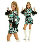 Adult Disco 60s 70s Costume Feather Go Go Fancy Dress Womens Decade Party Outfit