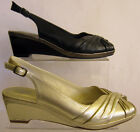 LADIES LEATHER WEDGE SLING BACK SHOES ( K SHOES BY CLARKS BEE BLEST)