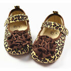 1pc New Baby Girl Infant Soft Crib Shoes Brown Leopard Flower Velcro Free Ship
