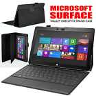 Microsoft Windows Surface Black Executive Leather Wallet Stand Folio Case Cover