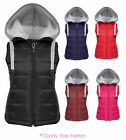 NEW WOMENS SLEEVELESS DRAW STRING HOODED QUILTED GILET BODYWARMER SIZES 8-14