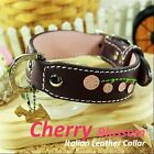 Luxury and Cute Dog Collar- Cherry Blossom Genuine Leather Purple&Pink Leash