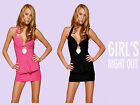 Hot New Womens  Sexy Clubwear Mini Dress Deep V Backless With G String 2PC Set