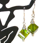 OLIVINE Green Crystal Earrings 8mm Cube Sterling Sterling Swarovski Elements