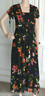 Pretty Monsoon Black Floral Print Tie Back Chiffon Dress Sizes 8 10 12 14 16 18