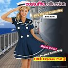 Adult 1950 Navy Sailor Costume Pin Up Rockabilly 50s Clothing Fancy Dress Outfit
