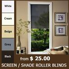 MODERN SCREEN SHADE SUNSCREEN ROLLER BLINDS -CHOOSE COLOR and SIZE. TOP QUALITY!
