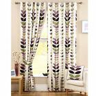 "ZEST AUBERGINE BOLD LEAF PRINT 3"" TAPE PENCIL PLEAT LINED CURTAINS 66x90 90x90"""