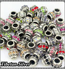 Wholesale Tibetan Silver Rhinestone Crystal Drum European Charms Spacer Beads