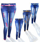 WOMEN'S STRETCH SKINNY FIT COLOURED  RIPPED DENIM BLUE LADIES JEANS SIZE  34/42