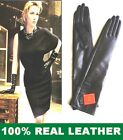40cm (15.5 Inches) Women Black (100% Real Leather) Long Opera / Evening Gloves