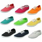 LADIES CASUAL LACE UP  CANVAS  SHOE IN ORANGE, AQUA, CORAL & NAVY F8813
