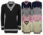 LADIES WOMENS GIRLS V NECK LONG SLEEVE KNITTED CABLE SWEATER JUMPER CRICKET TOPS