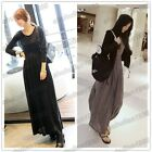 Cotton Blends Women's Round Neck Long Sleeve Pleated Maxi Casual Dress