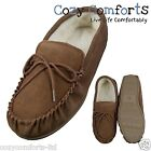 Genuine Suede Sheepskin Moccasin Slippers  With PVC Sole in Camel UK 3 - 13