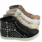 LADIES STUDDED FLAT ANKLE BOOTS SPORTS HIGH HI TOP DIAMANTE TRAINERS SHOES SIZE